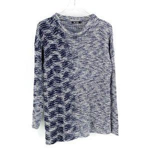 NIC+ZOE Blue Marled Asymmetrical Knit Sweater M